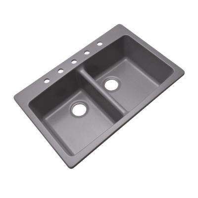 Waterbrook Dual Mount Composite Granite 33 in. 5-Hole Double Bowl Kitchen Sink in Grey