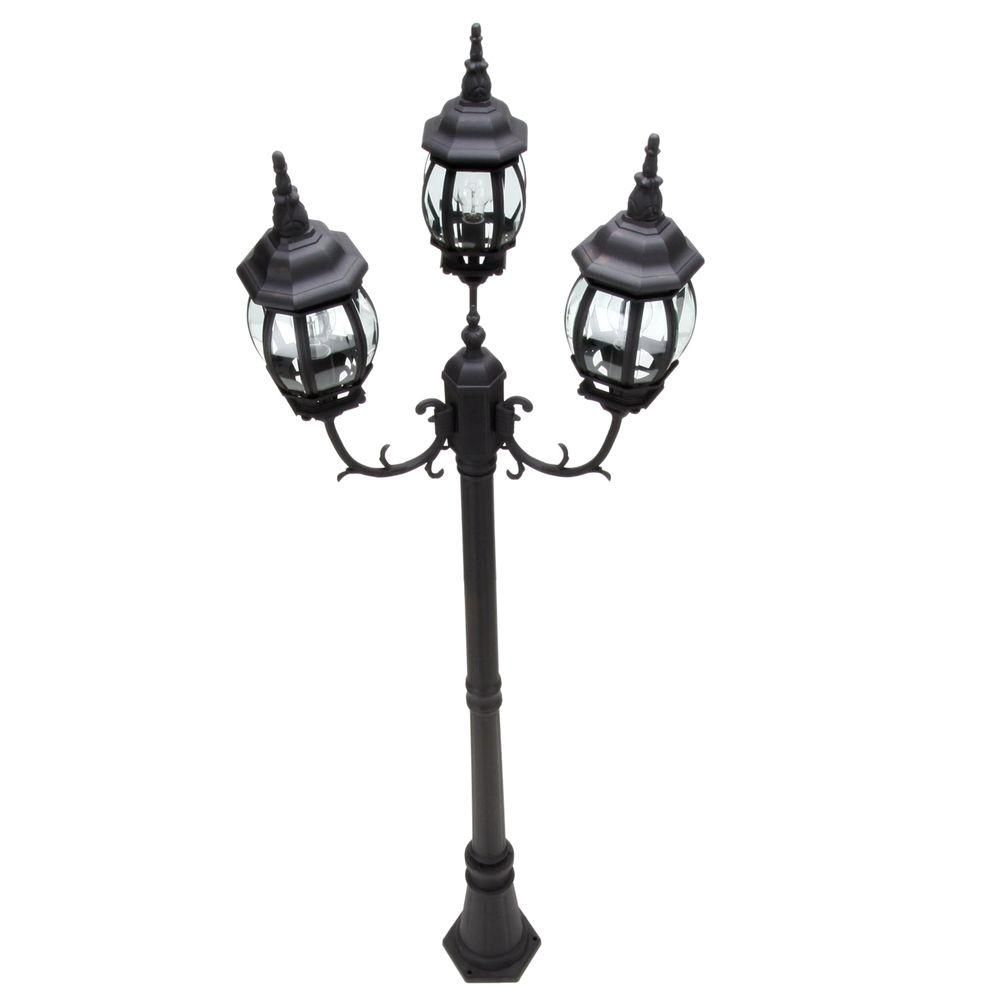 hampton bay 3 head black outdoor post light hb7017p 05 the home depot
