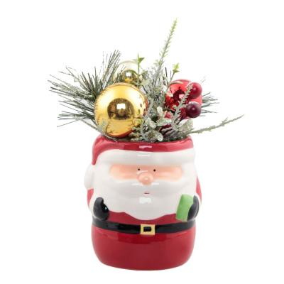 6 in. H Ceramic Christmas Arrangement traditional Santa Pot with Pinecones and Berries
