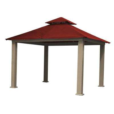 14 ft. x 14 ft. ACACIA Aluminum Gazebo with Red Canopy