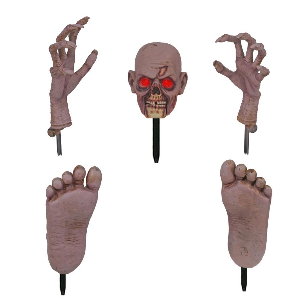 Home Accents Holiday 17 in. Zombie Ground Breaker with LED Illumination Including Head, Hands and Feet Set