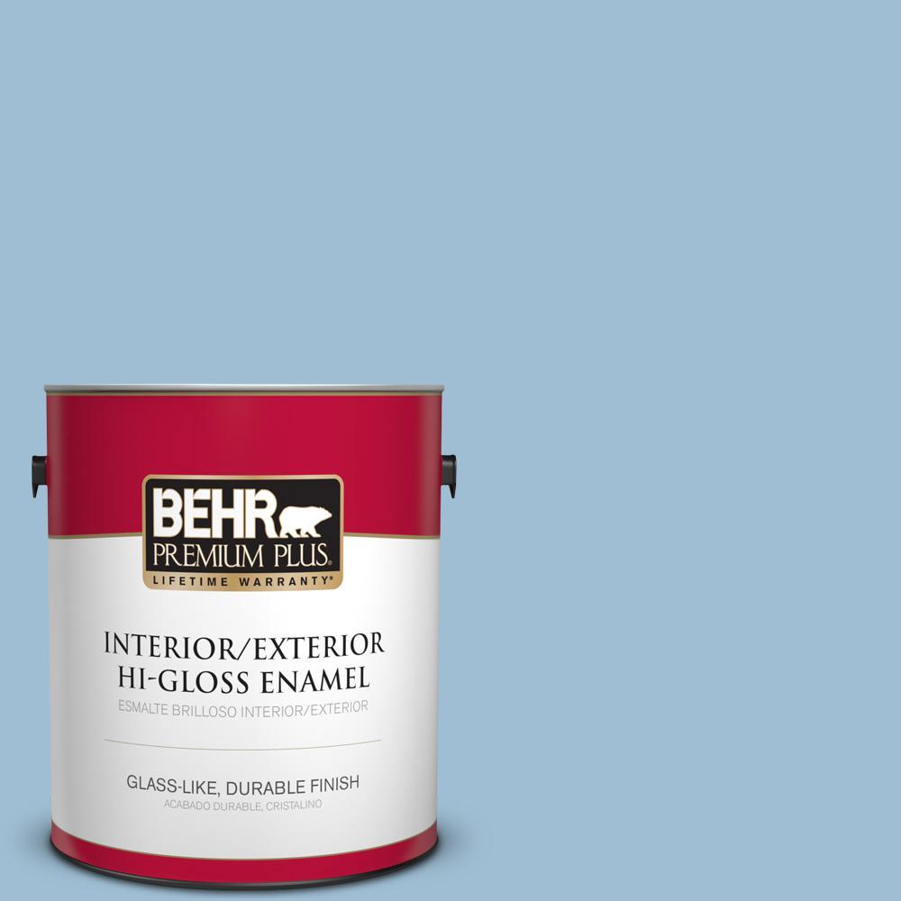 1 gal. #PPU14-11 Gentle Sky Hi-Gloss Enamel Interior/Exterior Paint