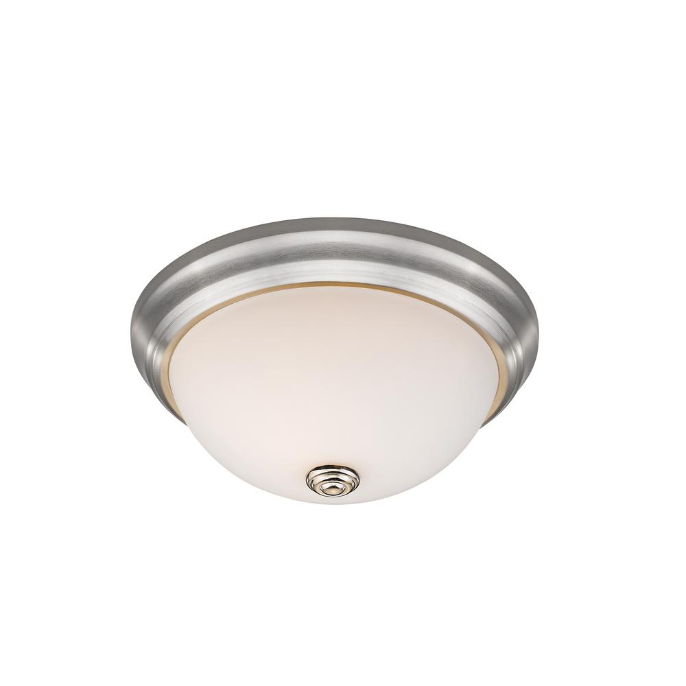 Curran 2-Light 60-Watt Brushed Nickel Flush Mount with Frosted Glass