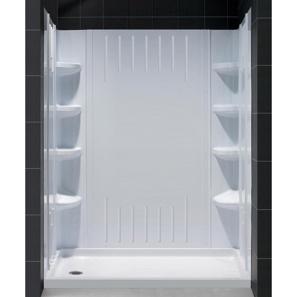 DreamLine SlimLine 30 inch x 60 inch Single Threshold Shower Base in White with... by DreamLine