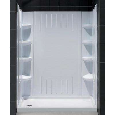 SlimLine 30 in. x 60 in. Single Threshold Shower Base in White with Left Hand Drain Base and BackWall