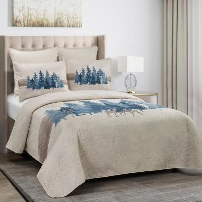 Watercolor Forest 3-Piece Ivory Queen Polyester Quilt Set