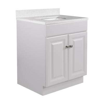 24 in. x 21 in. x 31.5 in. 2-Door Bath Vanity in White w/ 4 in. Centerset Snowdrift Quartz Vanity Top w/ Basin in White