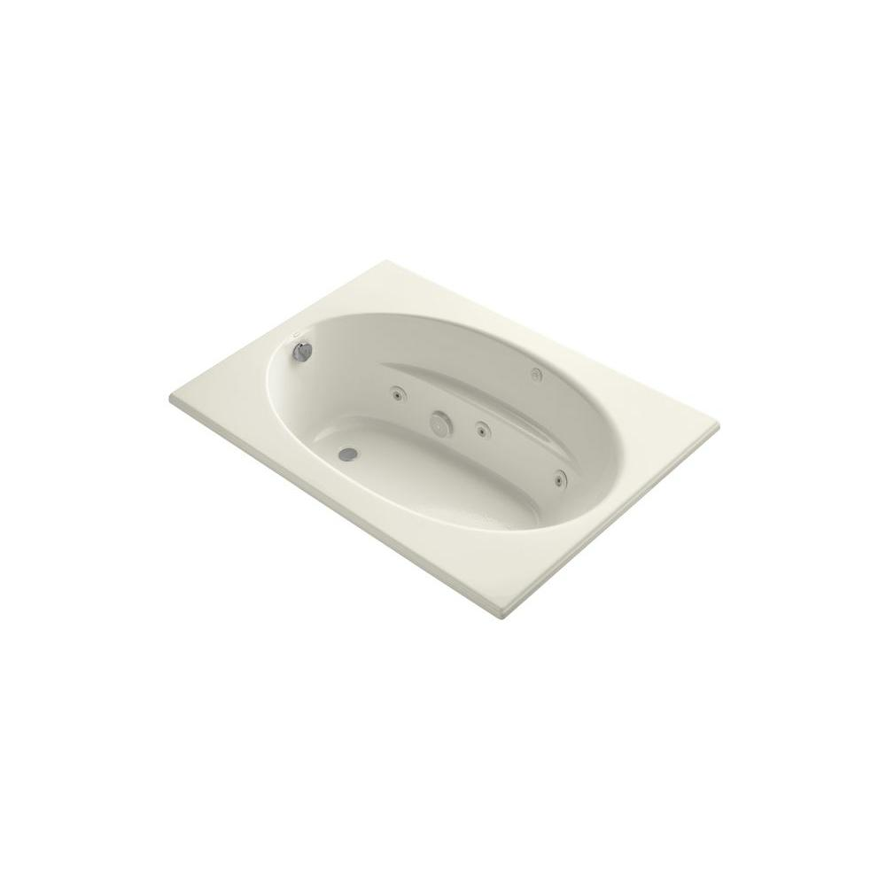 KOHLER Windward 5 ft. Rectangular Drop-in Whirlpool Bathtub in Biscuit