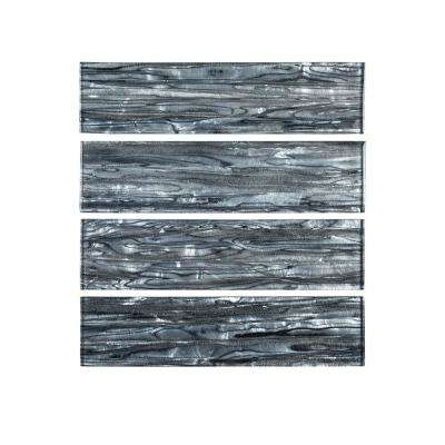 Abalone Gray 3 in. x 12 in. Glass Wall Tile (1 sq. ft. / pack)