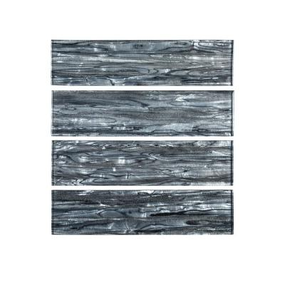 Abalone Gray 3 in. x 12 in. Glossy Glass Wall Tile (1 sq. ft. / pack)