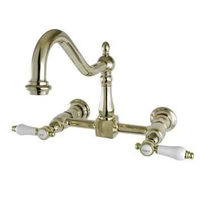 Victorian 2-Handle Wall-Mount Kitchen Faucet in Polished Brass