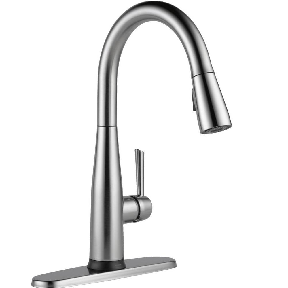 Delta Essa Touch2o Technology Single Handle Pull Down Sprayer Kitchen Faucet With Magnatite Docking In Arctic Stainless 9113t Ar Dst The Home Depot