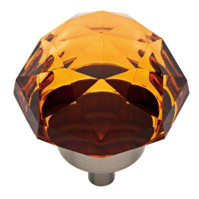 1-3/8 in. (35mm) Satin Nickel and Amber Faceted Glass Oversized Cabinet Knob
