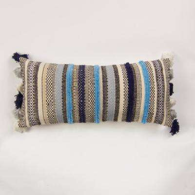 Handwoven stripe pillow in shades of blue