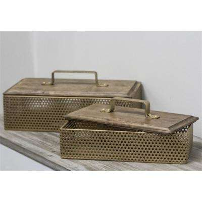 Gold Traditional Design Metal Boxes (Set of 2)