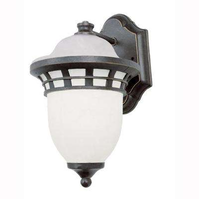 Imperial 1-Light Bronze Outdoor Coach Lantern Sconce with Frosted Glass