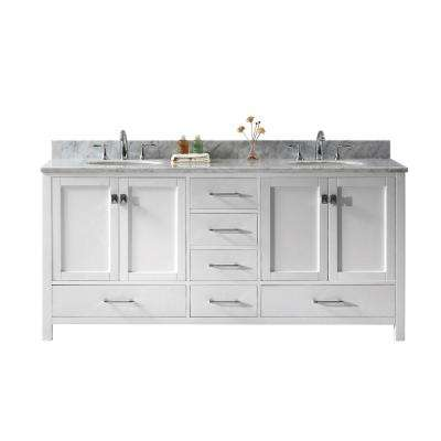 Caroline Avenue 72 in. W Bath Vanity in White with Marble Vanity Top in White with Round Basin