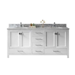Virtu USA Caroline Avenue 72 inch W x 22 inch D Double Vanity in White with Marble Vanity Top in White with White Basin by Virtu USA