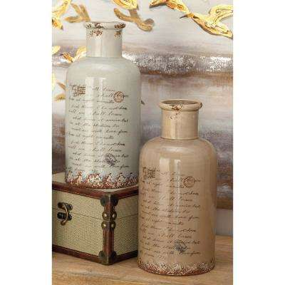 15 in. Whimsical Inscription Distressed Taupe and White Spouted Ceramic Decorative Vases (Set of 2)