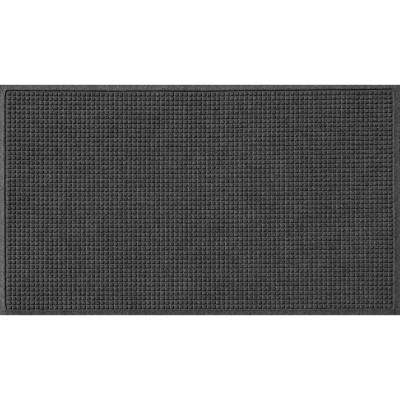 Charcoal 36 in. x 84 in. Squares Polypropylene Door Mat