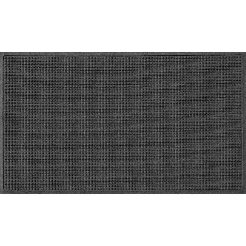 Charcoal 36 in. x 84 in. Squares Polypropylene Door Mat