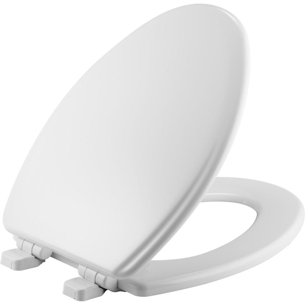 Adjustable Slow Close Never Loosens Elongated Closed Front Toilet Seat in White