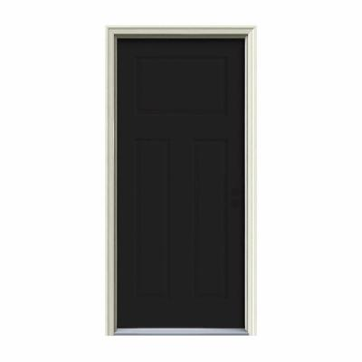 32 in. x 80 in. 3-Panel Craftsman Black Painted Steel Prehung Left-Hand Inswing Front Door w/Brickmould