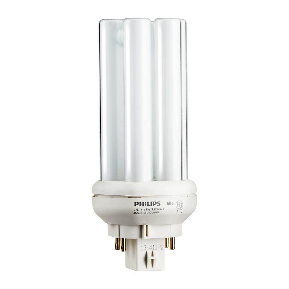 18-Watt Gx24q-2 PL-T CFL Amalgam Compact Quad Tube 4-Pin Light Bulb