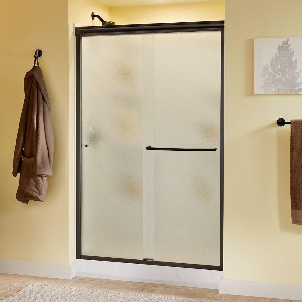 Simplicity 48 in. x 70 in. Semi-Framed Sliding Shower Door in Bronze with Rain Glass