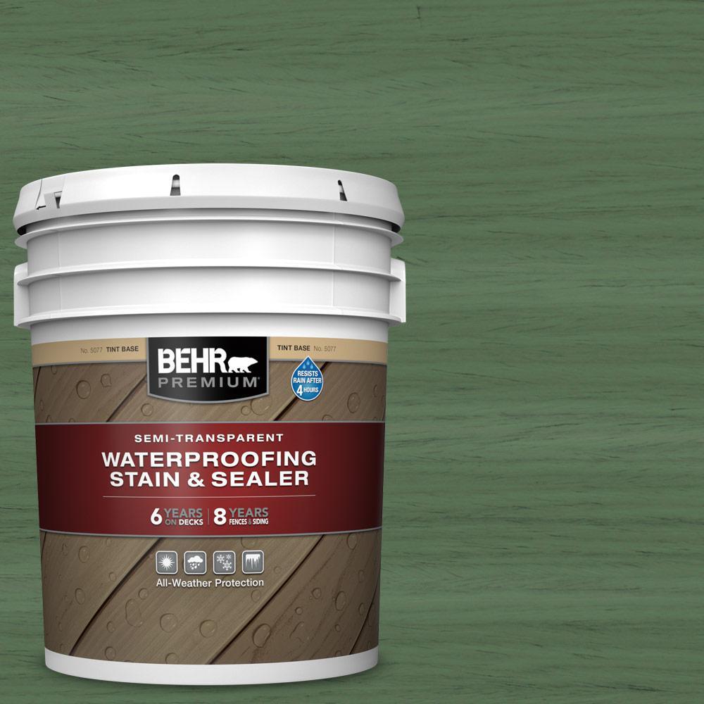 BEHR PREMIUM 5 gal. #ST-126 Woodland Green Semi-Transparent Waterproofing Exterior Wood Stain and Sealer