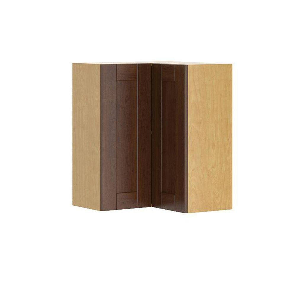 Fabritec Ready to Assemble 24x30x24 in. Lyon Corner Wall Cabinet in Maple Melamine and Door in Medium Brown