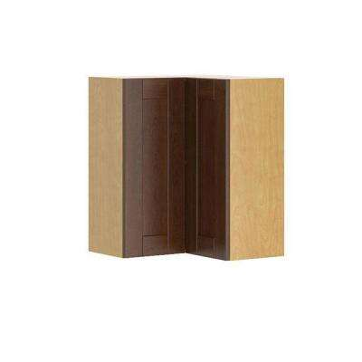 Ready to Assemble 24x30x24 in. Lyon Corner Wall Cabinet in Maple Melamine and Door in Medium Brown