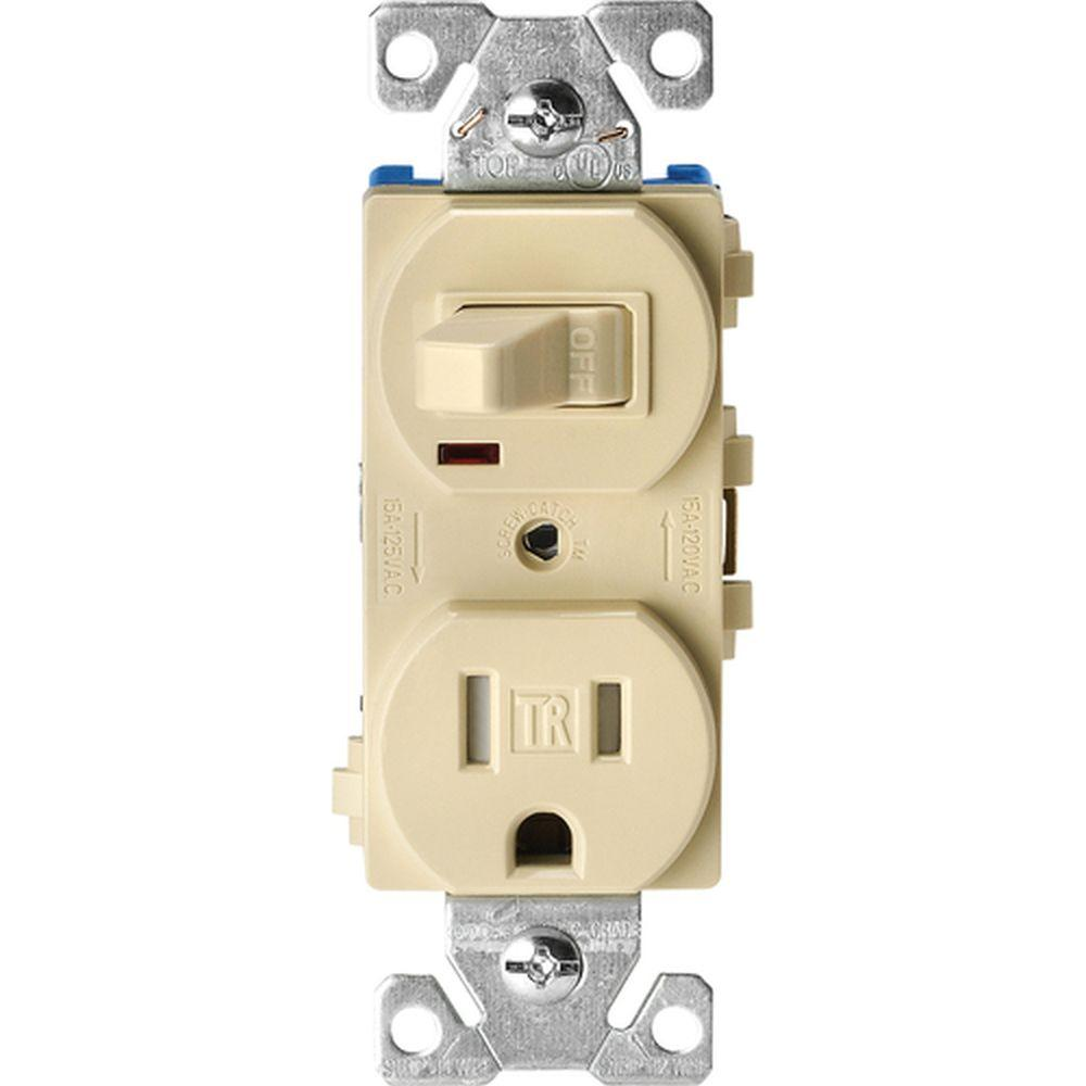White Google Assistant Electrical Outlets Receptacles Wiring Diagram Leviton Single Pole Light Switch 15 Amp Tamper Resistant Combination Toggle And 2