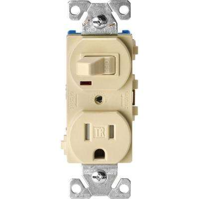 15 Amp Tamper Resistant Combination Single Pole Toggle Switch and 2-Pole Receptacle, Ivory