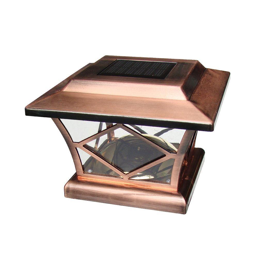 null 7 in. x 7 in. Solar Powered Copper Plastic Post Cap