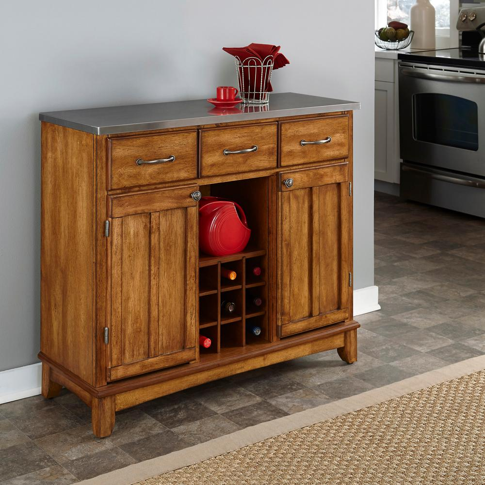 Home Styles Cottage Oak and Stainless Steel Buffet with Wine Storage & Home Styles Cottage Oak and Stainless Steel Buffet with Wine Storage ...