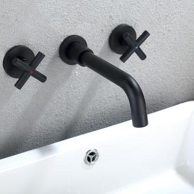 2 Double Handle Wall Mounted Bathroom Kitchen Faucet Basin Mixer Taps in Matte Black with Rough-in Valve