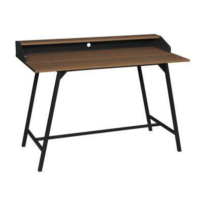Soho Urban Walnut 2-Tier Office Desk with Black Metal Frame