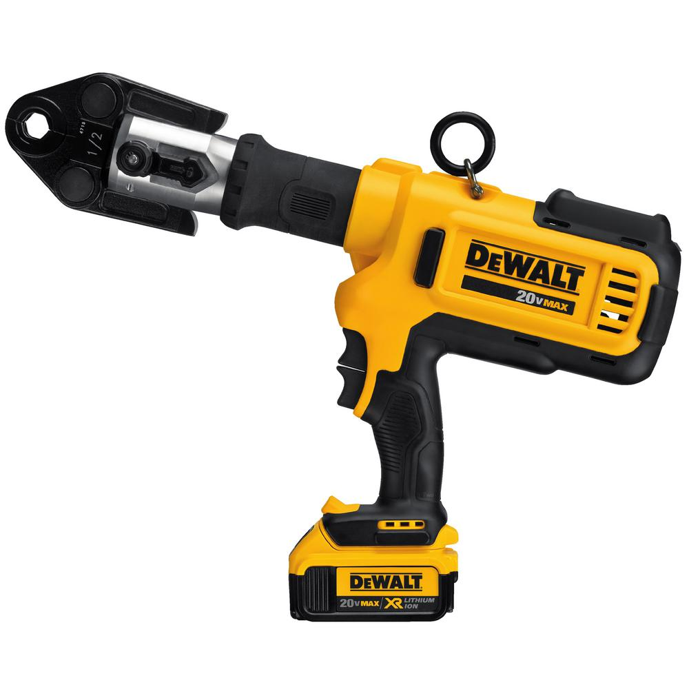 DEWALT 20-Volt MAX Lithium-Ion Cordless Copper Pipe Crimper with (2)  Batteries 4Ah, Charger and Case