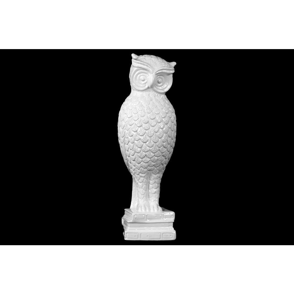 15.25 in. H Owl Decorative Figurine in White Gloss Finish