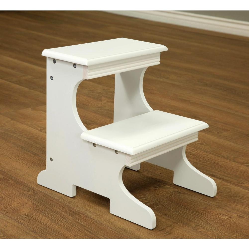megahome white 2 step stool ss52wh the home depot. Black Bedroom Furniture Sets. Home Design Ideas