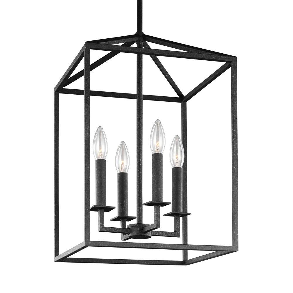 Sea Gull Lighting Perryton 15 5 In W 4 Light Blacksmith Hall Foyer Pendant