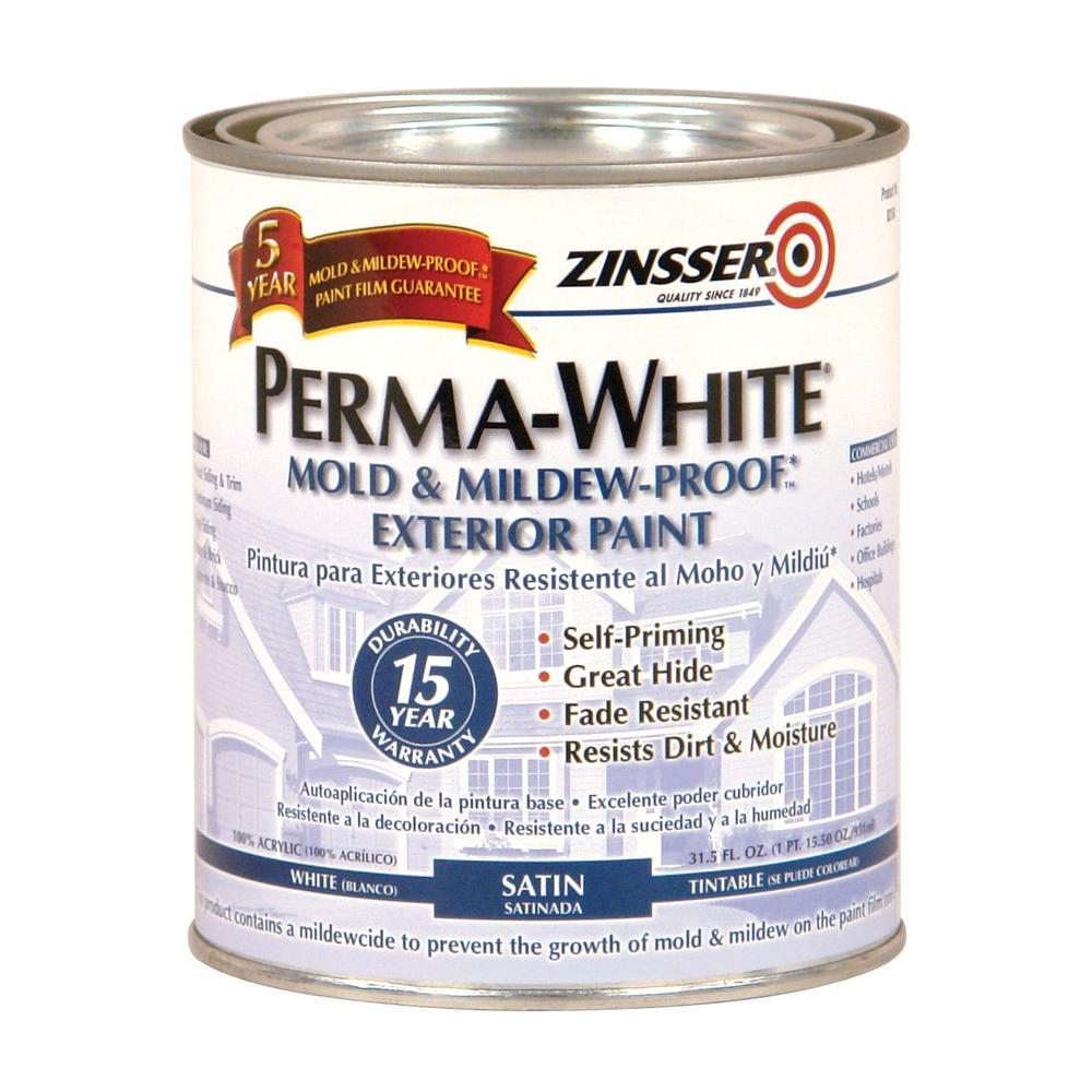 Mold Mildew Proof White Satin Exterior Paint 6 Pack