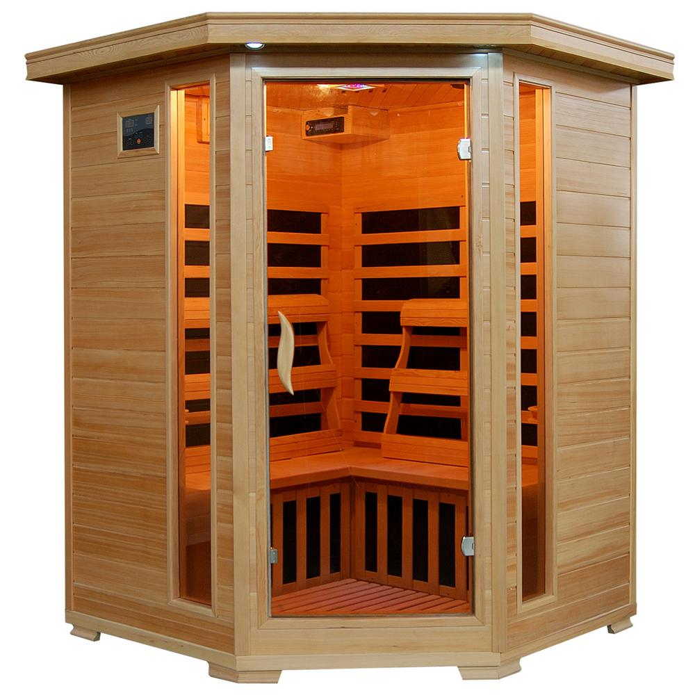 Radiant Sauna 3-Person Hemlock Corner Infrared Sauna with 7 Carbon Heaters