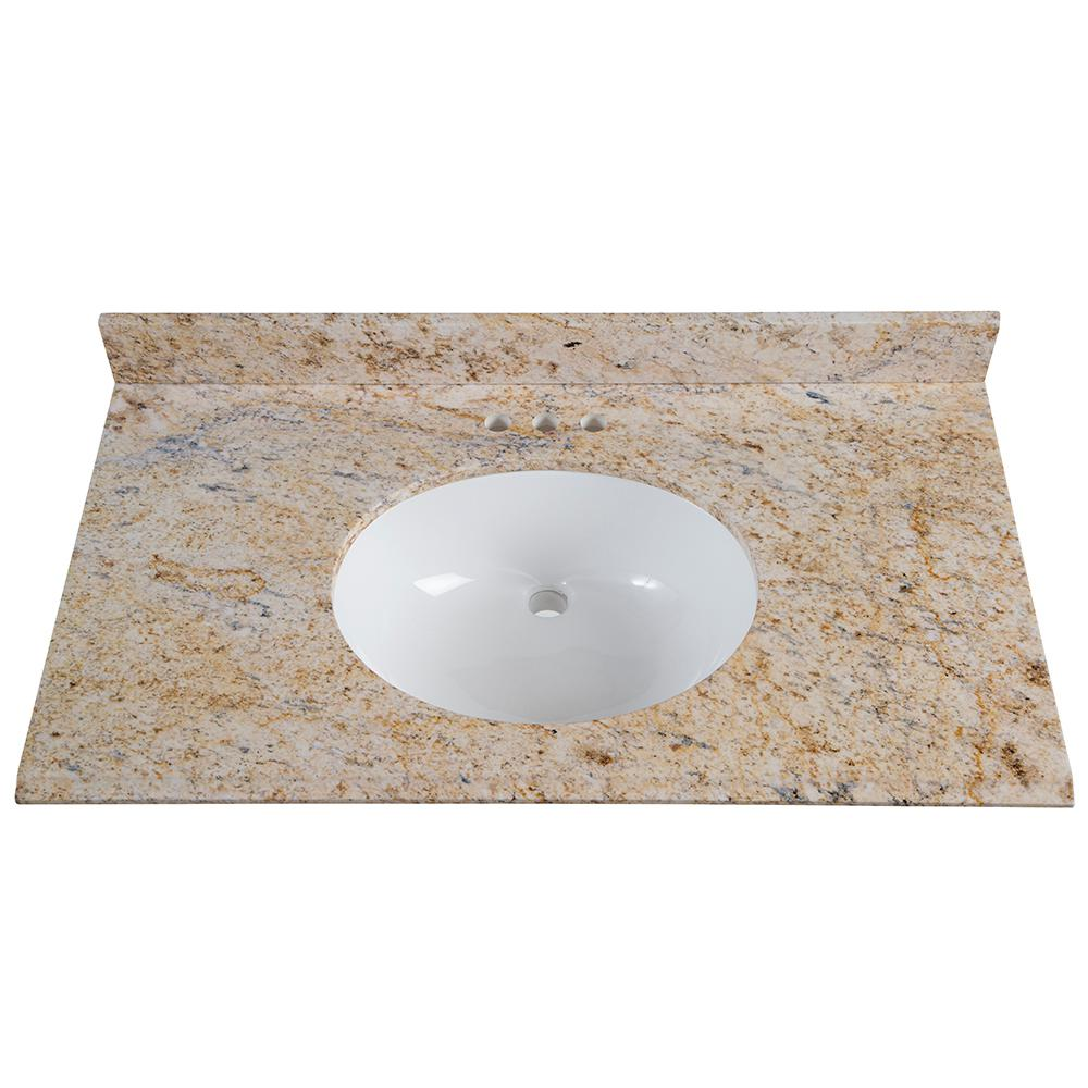 St. Paul 37 in. x 22 in. Stone Effects Vanity Top in Tuscan Sun with White Basin