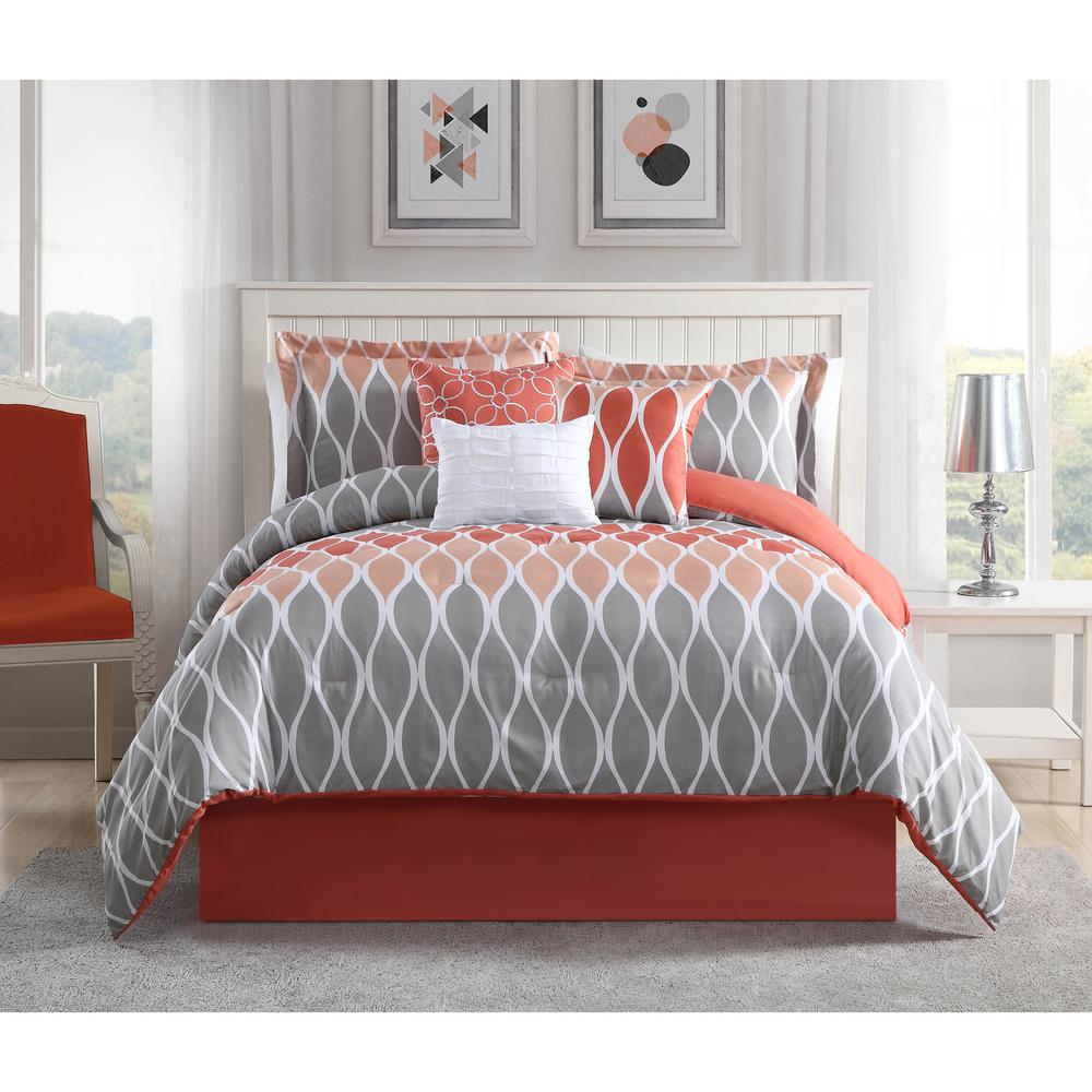 183 Best Orange Coral Yellow Bedroom Images On Pinterest: Clarisse Coral/Grey/White 7-Piece Full/Queen Comforter Set