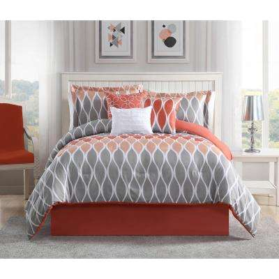 Clarisse Coral/Grey/White 7-Piece King Comforter Set