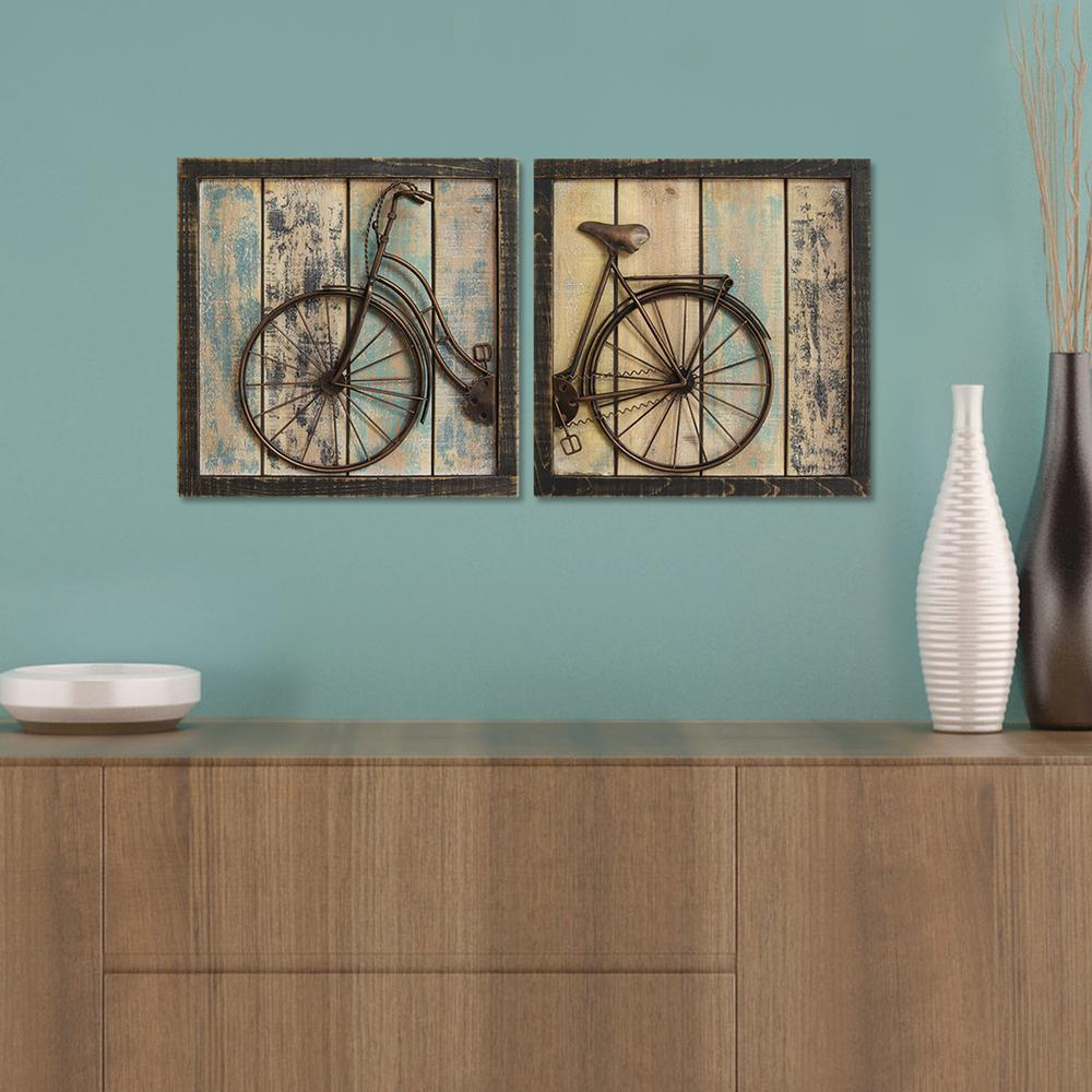 Rustic Bicycle Wall Decor (Set of 2)-S01209 - The Home Depot