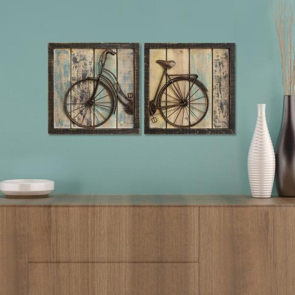 Stratton Home Decor Rustic Bicycle Wall Decor Set Of 2 S01209