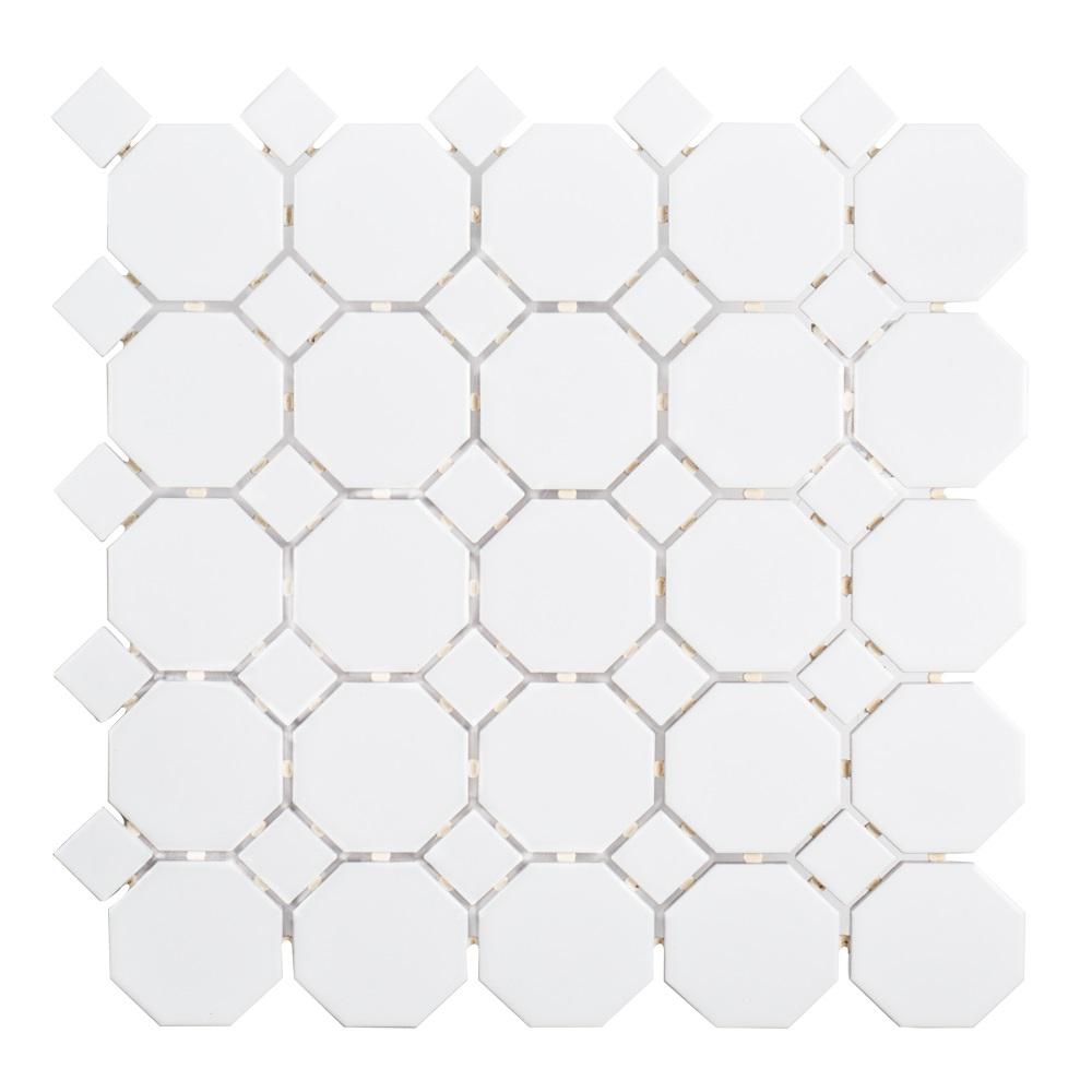 Jeffrey Court Retro Octagon White Dot 11-1/2 in. x 11-1/2 in. x 6 mm Matte Porcelain Mosaic Floor and Wall Tile